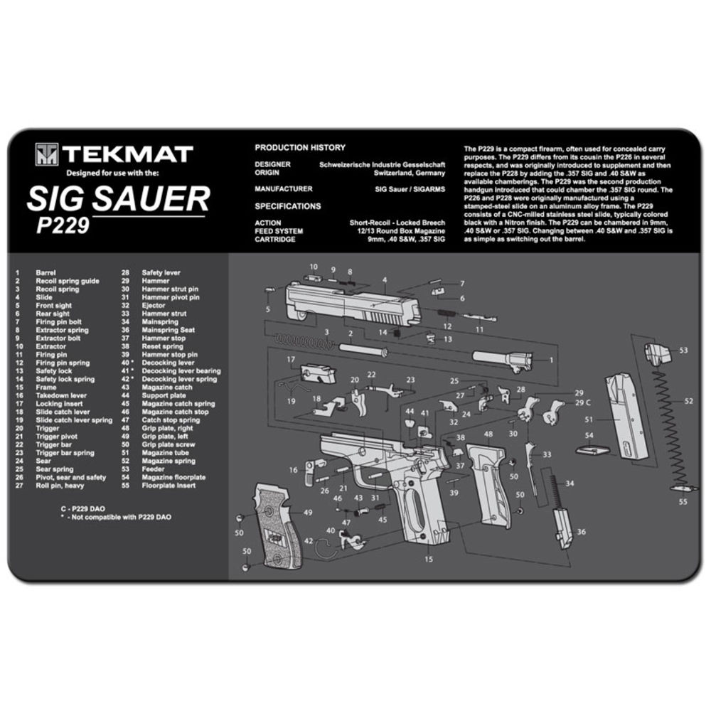 Tekmat - Sig Sauer P229 - TEKMAT SIG SAUER P229 - 11X17IN for sale