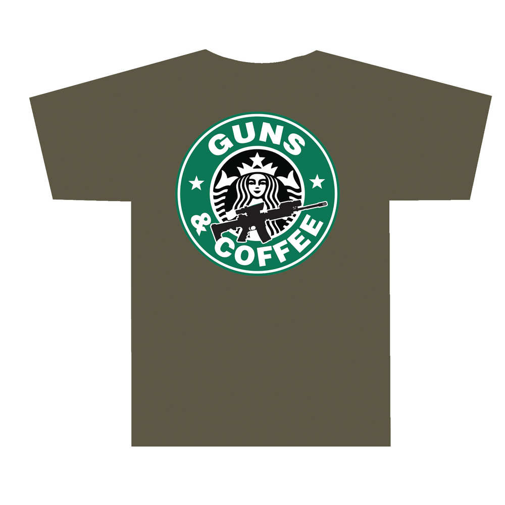 tuff products - 3001ODMD - GUNS AND COFFEE T-SHIRT OLV DRB - MD for sale