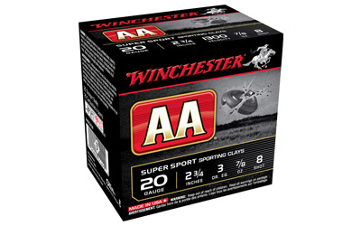 "Winchester - AA - 20 Gauge 2.75"" - AA CLAY 20GA 2.75IN 0.875OZ 8 25/BX for sale"